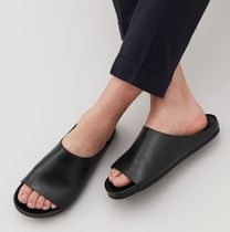 """COS MEN""LEATHER SLIP-ON SANDALS BLACK"