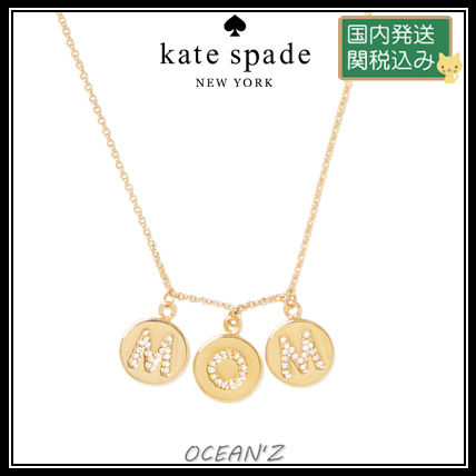 ☆mom knows best pave mom charm necklace☆ クリア/ゴールド系