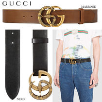 【正規品保証】GUCCI★18春夏★LEATHER BELT W/DOUBLE G BACKLE