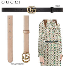 【正規品保証】GUCCI★18春夏★LEATHER BELT W/PEARL DOUBLE G