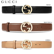 【正規品保証】GUCCI★18春夏★LEATHER BELT W/ INTERLOCKING G