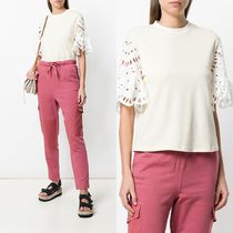 ∞∞See by Chloe∞∞ open embroidery sleeve tee☆ホワイト