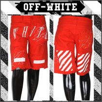【OFF WHITE】15SS NEW WHITE CANVASハーフパンツRED/追跡送料込