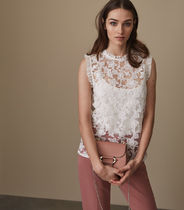 REISS - MARINA SLEEVELESS LACE TOP OFF WHITE