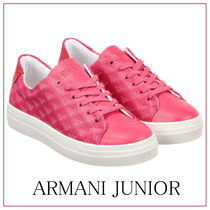 【関税/送料込】Armani Junior Girls Pink Logo Trainers/大人OK