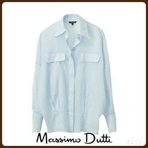 MassimoDutti♪LIMITED EDITION COTTON SHIRT WITH LAPEL DETAIL