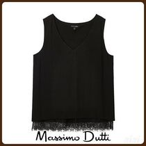 MassimoDutti♪PLEATED TOP WITH LACE HEM