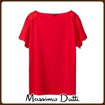 MassimoDutti♪T-SHIRT WITH CONTRASTING LACE TRIM DETAIL