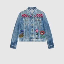 18SS Embroidered stained denim jacket