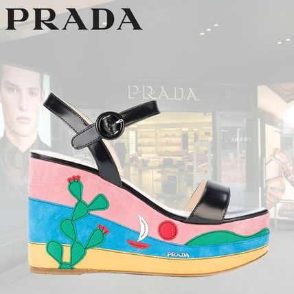 PRADA サンダル・ミュール PRADA MEXICO APPLIQUE PLATFORM SANDALS 1XZ600F1053K9H