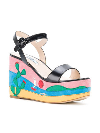 PRADA サンダル・ミュール PRADA MEXICO APPLIQUE PLATFORM SANDALS 1XZ600F1053K9H(3)