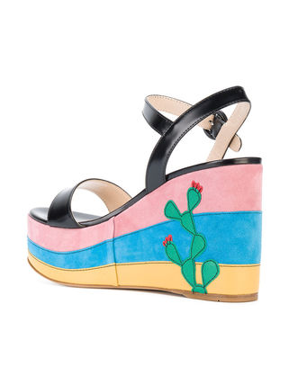 PRADA サンダル・ミュール PRADA MEXICO APPLIQUE PLATFORM SANDALS 1XZ600F1053K9H(4)