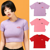 A PIECE OF CAKE(ピースオブケイク) Tシャツ・カットソー ★A PIECE OF CAKE★韓国ショートT Oval Logo Crop Top【全3色】