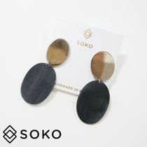 【SOKO ソコ 】Oval Coin Contrast スタッズ ピアス