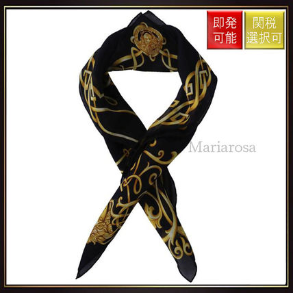 【ヴェルサーチ】Celtic Baroque Medusa Silk Foulard Black