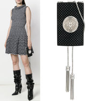 18SS BAL284 STUDDED SUEDE LEATHER MINAUDIERE