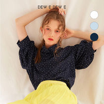 DEW E DEW E(ドュイドュイ) ブラウス・シャツ ★DEW E DEW E★ DOT HIGH NECK BLOUSE(WHITE,NAVY)