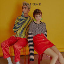 DEW E DEW E(ドュイドュイ) Tシャツ・カットソー ★DEW E DEW E★ DEW E HEART DEW E_UNISEX LOOSE STRIPE TOP