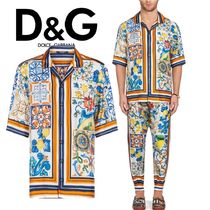 18-19AW【D&G】人気 半袖 パジャマ シルク プリント シャツ