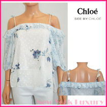 See by Chloe★素敵!Off-White&Blue Floral Cold-Shoulder Top