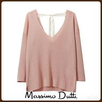 MassimoDutti♪RIBBED CAPE-STYLE SWEATER WITH BOW DETAIL
