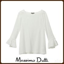 MassimoDutti♪CONTRASTING T-SHIRT WITH PLEATS AND LACE TRIMS