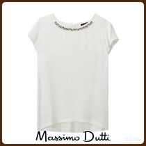 MassimoDutti♪CONTRASTING T-SHIRT WITH GEM DETAIL