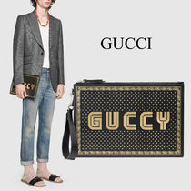 GUCCI GUCCY プリント レザー ポーチ