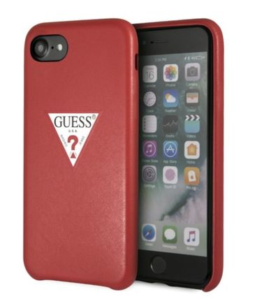 Guess iPhone・スマホケース PU LEATHER CASE TRIANGLE LOGO for iPhone 8 (RED)