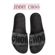 【JIMMY CHOO】Rey slide sandals with crystals☆ロゴ入り