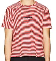☆SAINT LAURENT☆ Logo-Appliqued Striped Cotton T-Shirt
