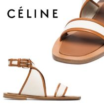 【18SS】大注目!!★CELINE★Cream canvas and leather sandals
