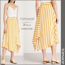 【国内発送・関税込】TOPSHOP★Asymmetric striped crepe skirt