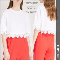 【国内発送・関税込】TOPSHOP★Lace-trim cotton T-shirt