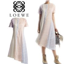 【18SS】大注目!!★LOEWE★Gingham cotton-blend dress