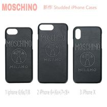 先取り★ロゴ【送料込 MOSCHINO】iPhone 6/6s/7/8,+,X★STUDS黒