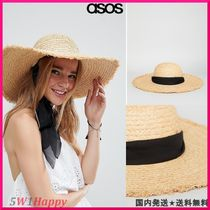 ★ASOS Natural Straw Floppy Hat with Chin Tie