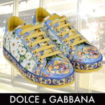 DOLCE & GABBANA Floral Majolica Leather Trainers 関税送料込