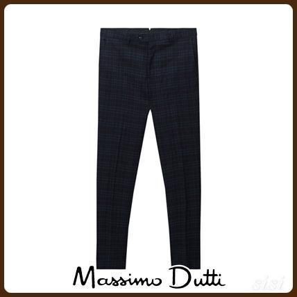 MassimoDutti♪SLIM FIT CHECKED LINEN/WOOL SUIT TROUSERS