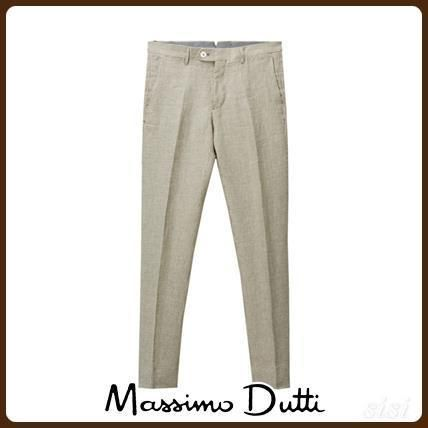 MassimoDutti♪SLIM FIT HOUNDSTOOTH LINEN SUIT TROUSERS