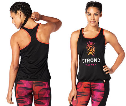 ZUMBA フィットネストップス STRONG By Zumba Mesh Bubble Tank (Back to Black) タンク