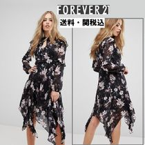 Forever Unique(フォーエバーユニーク) ワンピース Forever Newフローラルミデイドレス with ハンキー Hem