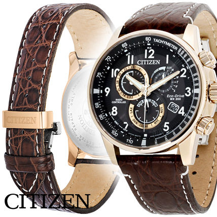 Citizen PCAT Eco Drive レザー メンズ 腕時計 AT4133-09E