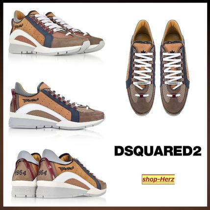 ★D SQUARED2★ BROWN ナイロン&レザー スニーカー 送料無料