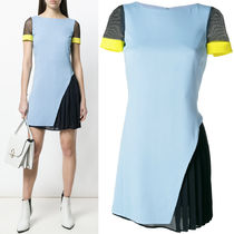 18SS VER121 COLOR-BLOCK MINI DRESS WITH PLEATED GODET