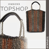 【国内発送・関税込】TOPSHOP★Bath Striped Straw Tote Bag