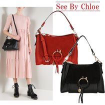 【See by Chloe】small Joan leather and suede bag☆