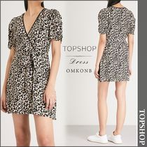 【国内発送・関税込】TOPSHOP★Leopard-print crepe dress