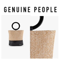【GENUINE PEOPLE】●日本未入荷● Leather Straw Bucket Bag