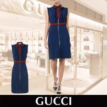 GUCCI Sleveless ruffled Dress ネイビー 関税送料込み